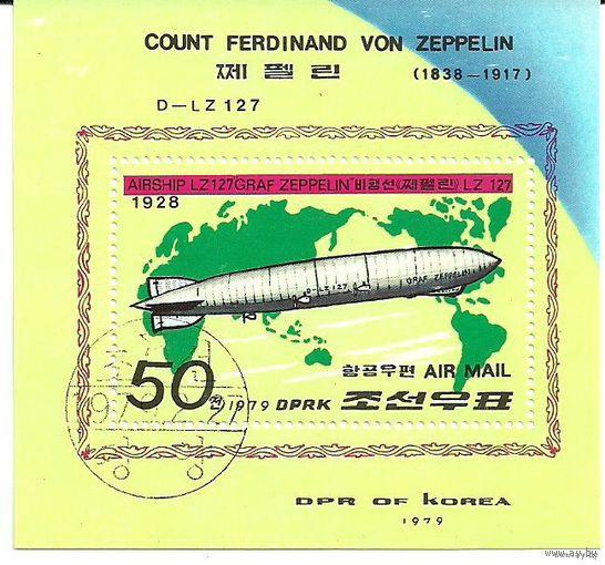 Транспорт. Дирижабли. КНДР 1979 г. (Корея) Серия + блок