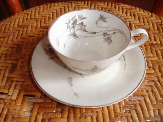 Чашка с блюдцем чайная пара костяной фарфор Германия 70-е гг очень нежный рисунок тончайший фарфор слоновой кости