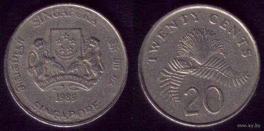 20 центов 1989 год Сингапур