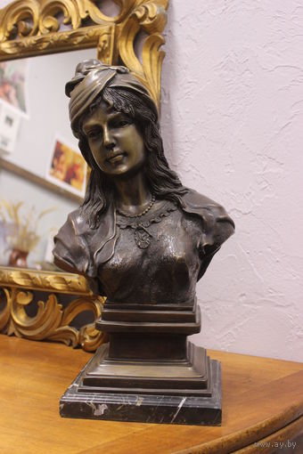 С 1 рубля! Старый огромный бронзовый бюст в стиле Арт Нуво. Лот 1/30. Аукцион 5 дней!