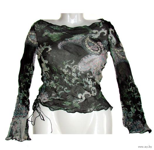Легкая блузка из тончайшего шифона с расклешенными рукавами на хрупкую стройную дюймовочку, р.38, пару раз б\у, почти новая