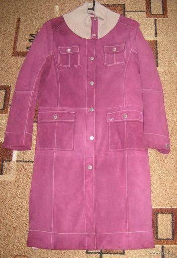 Стильное замшевое пальто TOM TAILOR яркого, насыщенного цвета фуксии!