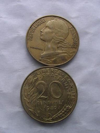 Франция 20 сантим 1980г.  распродажа
