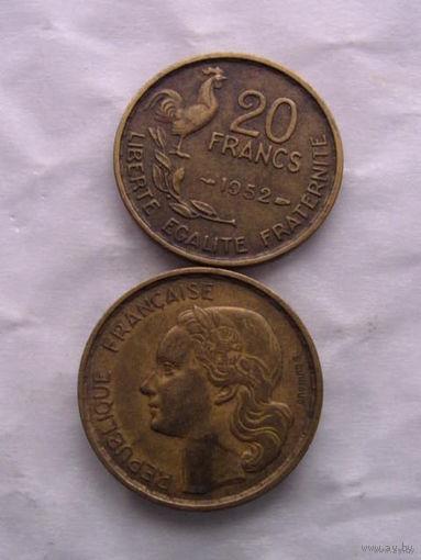20 франков Франция 1952 г.в.     распродажа