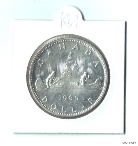 Серебро Канады! 1 доллар 1965 года (Индейцы в каноэ).
