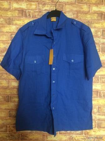 Мужская рубашка ярко-синего цвета. размер L. Длина 83 см, ПОгруди 62 см. Новая, купила брату, но не угадала с размером. Обмен не интересует
