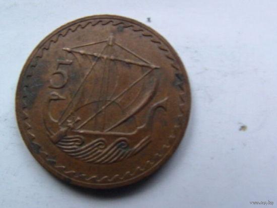 Кипр 5 центов 1973г.  распродажа