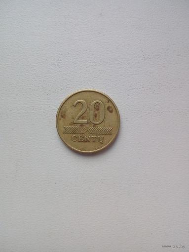 20 центов 2008г. Литва.