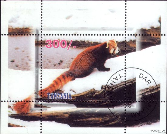 Блок и 4 марки 1998 год Танзания Фауна