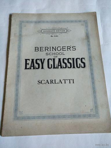 Старинная учебная тетрадь издательства AUGENER'S EDITION No5141. BERINGER'S school of EASY CLASSICS.SCARLATTI.1915 год.