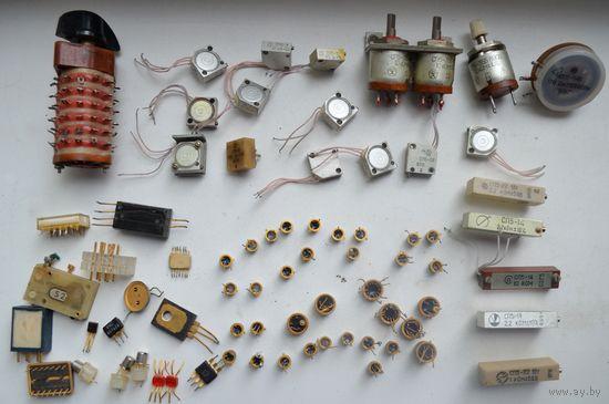 Радиодетали СССР.Резисторы СП5(21штука)+желтые+переключатель.С рубля
