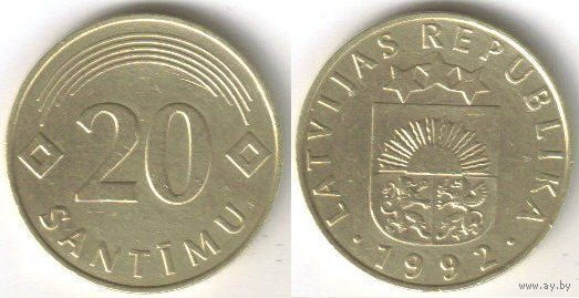 Латвия. 20 сантимов (1992)
