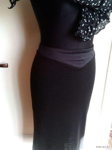 Чёрная трикотажная юбка с кокеткой, 44-46