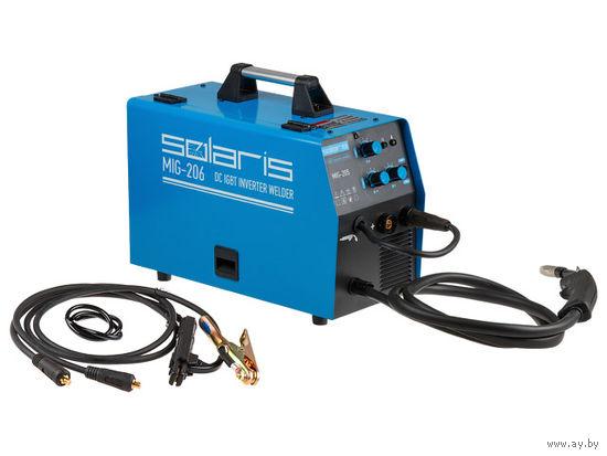 Полуавтомат сварочный Solaris MIG-206 (MIG/MMA) (220В; встроенная горелка 2 м; смена полярности)