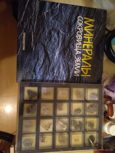 20 минералов в  боксе. Папка с журналами Минералы Сокровища Земли