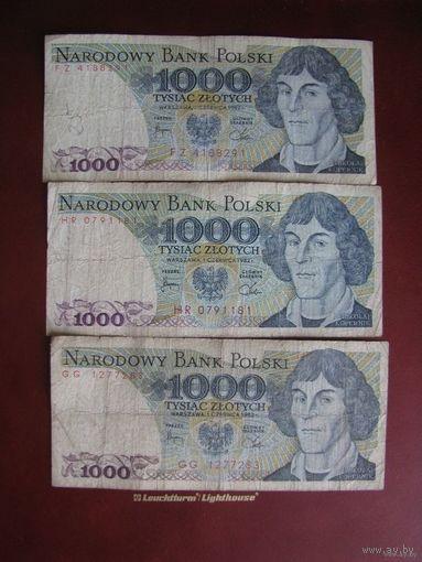 1000 злотых 1982, три купюры, Польша. Цена за 3.
