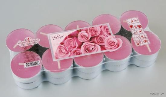 """Свеча чайная 12 гр ароматизированная в алюминиевой гильзе """"роза"""" с 1 рубля"""