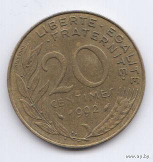 Франция 20 сантимов 1992г.  распродажа