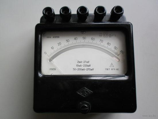 Прибор амперметр М109 на 2-200 миллиампер.