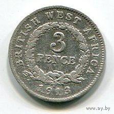 БРИТАНСКАЯ ЗАПАДНАЯ АФРИКА - 3 ПЕНСА 1913 Н