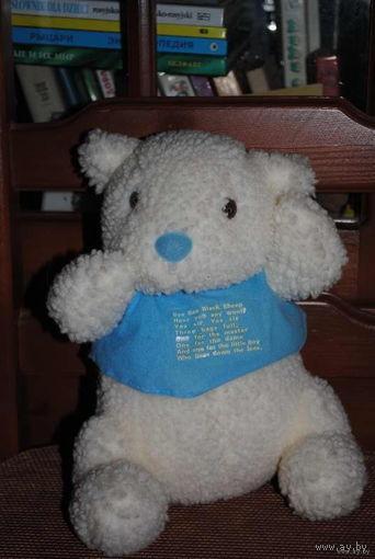 Белый, английский с юморной надписью на одёжке мишка/миша/мишутка - (б.у.) - игрушка зарубежного производства за 17 у.е.)!