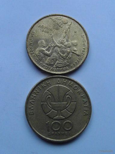 Греция 100 драхм 1998г (баскетбол) юбилейная монета распродажа