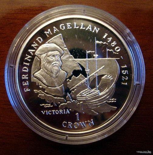 Мэн 1 крона 1996, Магеллан, серебро, пруф