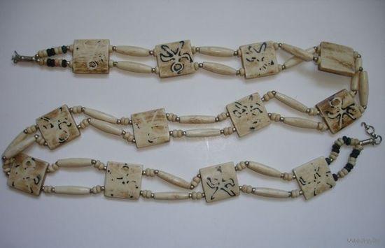 Шикарный старинный женский пояс поясок из слоновой кости Индия