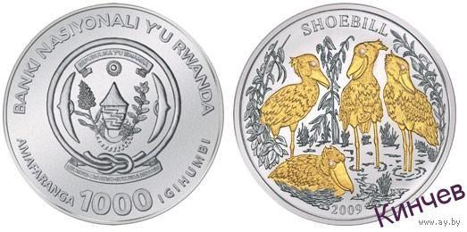 1000 франков 2009 г. Руанда- Королевская Цапля