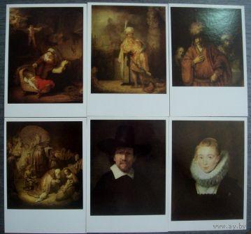 """Открытки """" Картины Рембрантдта"""". 1987г. 17 шт."""