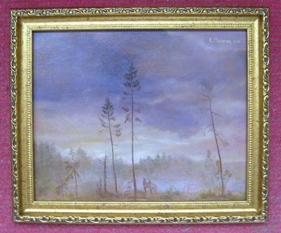 """Картина: """"Лесной Приют"""". Автор картины - Мельник К. Год создания - 2001. Техника - ДВП, масло, продается в раме. Формат  - 23.5 x 29 см."""