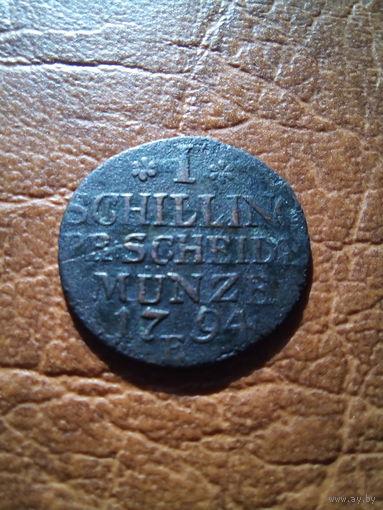 1 шиллинг 1794 года. (не частый, единственный на ау.). ТОРГ!!!